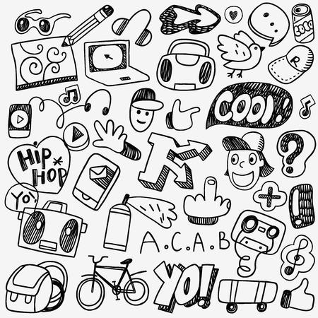 music rap boy graffiti - set icons in sketch style Illustration
