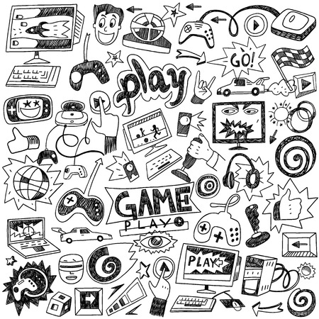 pad: computer games - set icons in sketch style