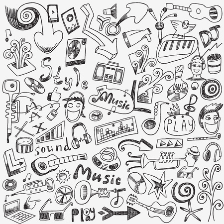 art design: Music doodles - set vector icons in sketch style