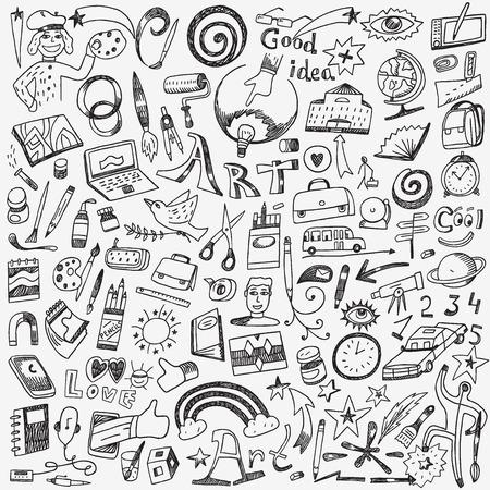 Kunst-Tools gesetzt Vektor-Icons in Skizze Stil