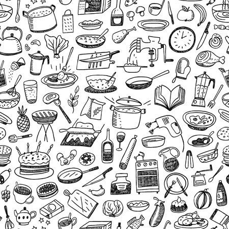 요리, 자연 식품 - 스케치 스타일 아이콘 원활한 패턴 일러스트