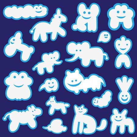 nubes caricatura: divertido se nubla fijar iconos de vector, elementos de diseño