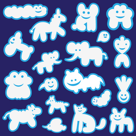 clouds cartoon: funny clouds set vector icons , design elements