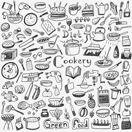 koken set vector pictogrammen in schets stijl