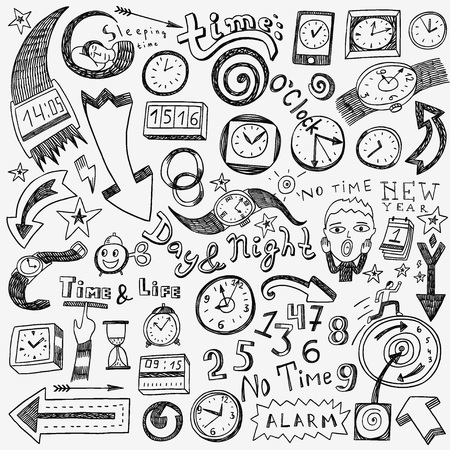 time clock set icons in sketch style
