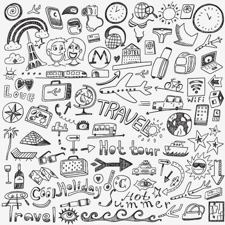 viaggi: di viaggio - set di icone vettoriali in stile schizzo