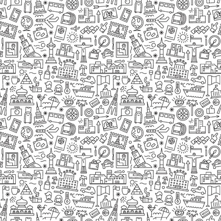 travel seamless pattern with line icons , design element