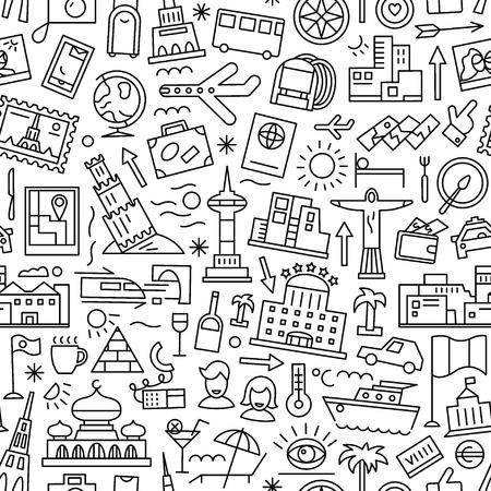 voyage: voyager pattern avec des icônes de ligne, élément de design