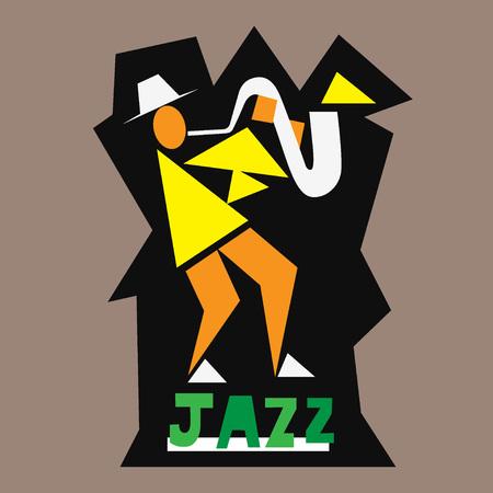 jazz men: jazz musician - vector symbol , design element
