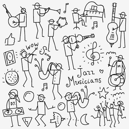 musico: Músicos iconos en el estilo de dibujo, elementos de diseño Vectores