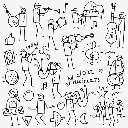 Musicians icons in sketch style , design elements Stock Illustratie