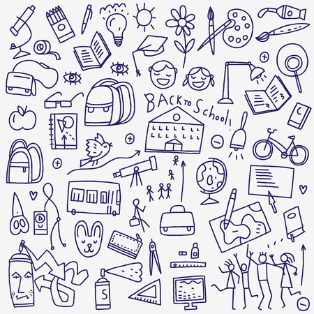 doodle: School icons in sketch style , design elements