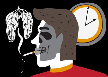 calavera caricatura: hombre de fumar - ilustraci�n vectorial, elemento de dise�o Vectores