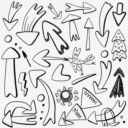 flèches icônes de style de croquis, des éléments de conception