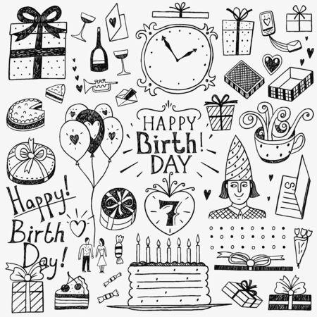 zeichnen: Geburtstag Symbole in Skizze Stil, Design-Elemente