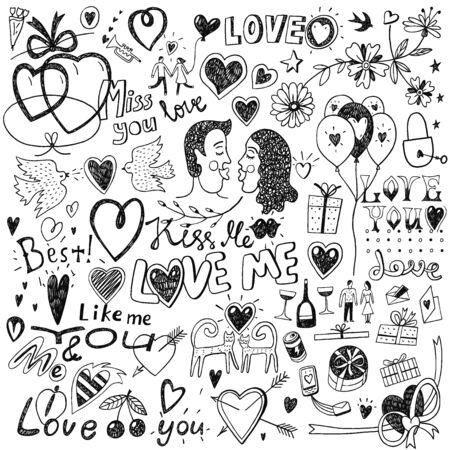 Iconos del amor en el estilo, elementos de diseño del bosquejo