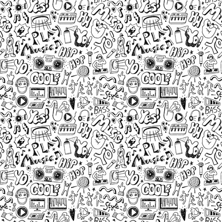 Music party seamless pattern with icons in sketch style