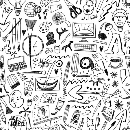 scissors icon: art tools seamless pattern with icons in sketch style