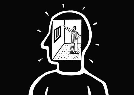 dictator: man inside head , brain vector cartoon , design element