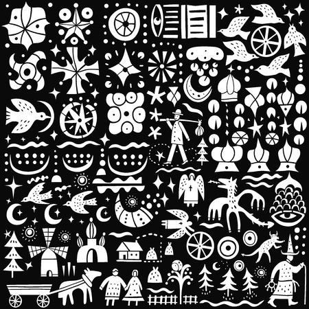 teufel engel: M�rchen - Symbole im grafischen Stil, Design elemnts