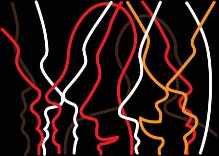 Menschen Gesichter abstrakten Hintergrund mit Linien, Design-Element