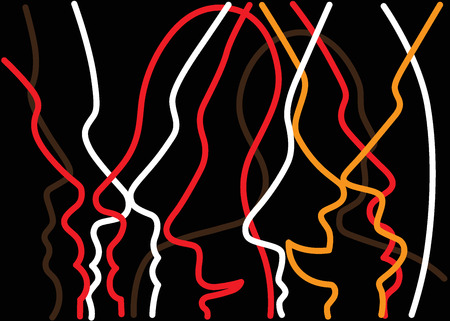 man abstract: people faces abstract background with lines , design element
