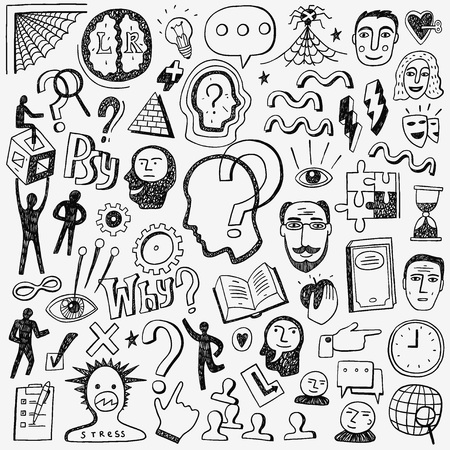 mental health problems: Thinking , psychology - icons in sketch style , design elements