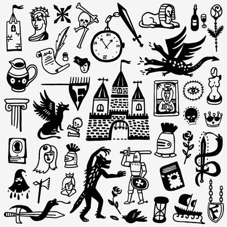 monumento: conjunto de iconos de estilo gráfico, elementos de diseño - Historia