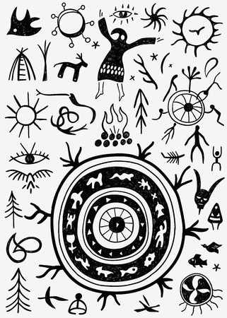 ritual: shamans ritual - set icons in graphic style , design elements