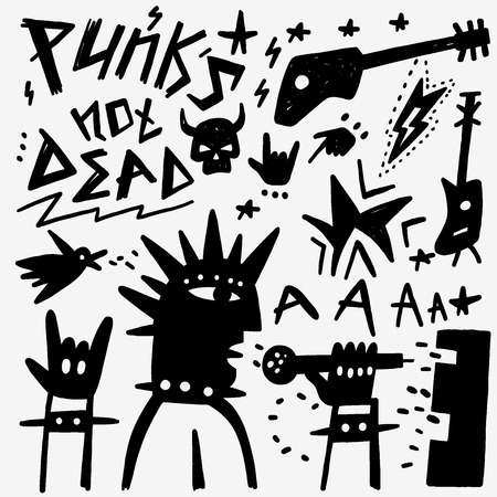 punk hair: punk musician - set icons in graphic style , design elements Illustration