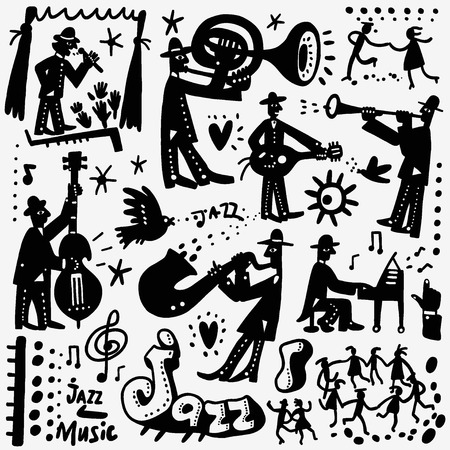 silhouettes people: jazz band , music party - set icons in graphic style , design elements