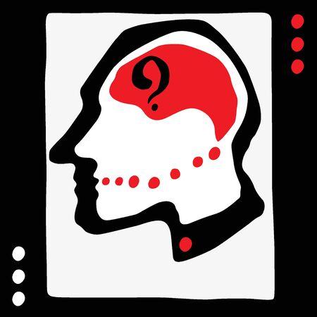 stressed people: Thinking man head - vecto graphic illustration , design element Illustration