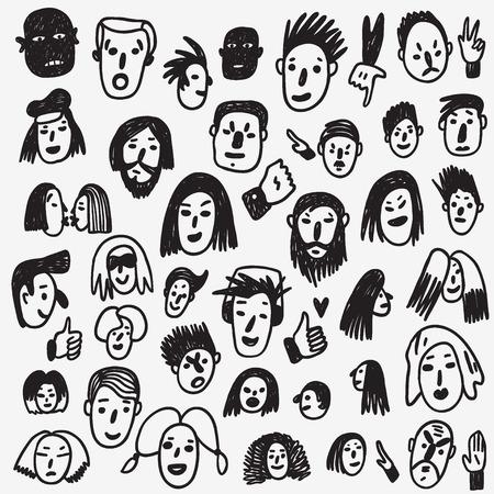 boceto: Caras de la gente - conjunto de iconos en el estilo de dibujo, elementos de diseño