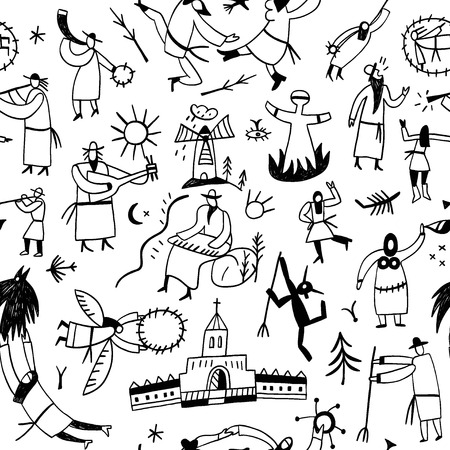 mystical: Ethnic musicians - seamless pattern with icons in sketch style Illustration