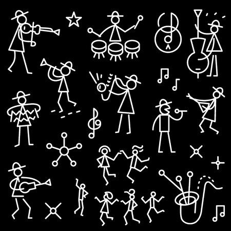 tenor: jazz band - set thin line icons , design elements