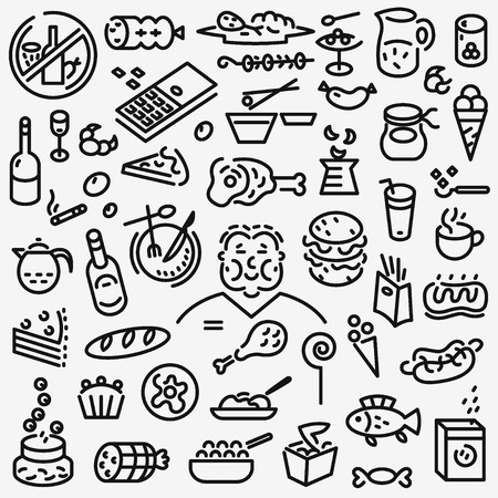 barbecued: fast food - set thin line icons , design elements Illustration