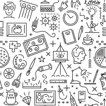 art pen: Art science - seamless pattern with icons , design elements