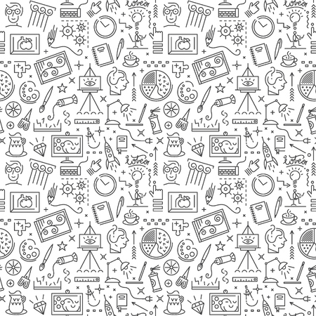 communication tools: Art science - seamless pattern with icons , design elements