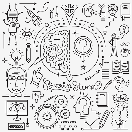 brainstorm: Thinking , brainstorm , science - set thin line icons , design elements