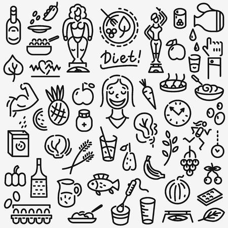 raw egg: raw food , diet - set thin line icons , design elements Illustration