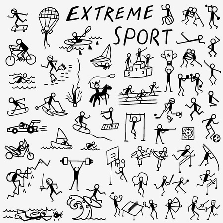extreme sport set icons in sketch style , design elements Illustration