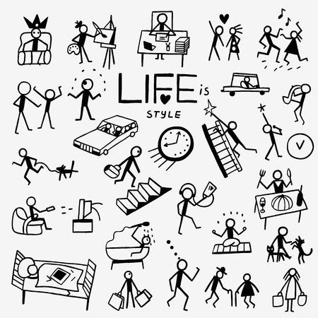 стиль жизни: стиль жизни - набор иконок в стиле эскиза, элементы дизайна Иллюстрация