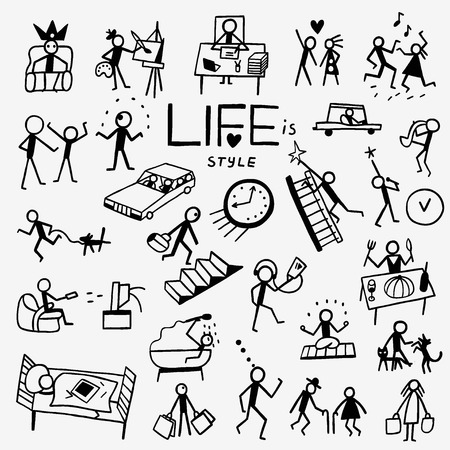 artists: life style - set icons in sketch style , design elements Illustration