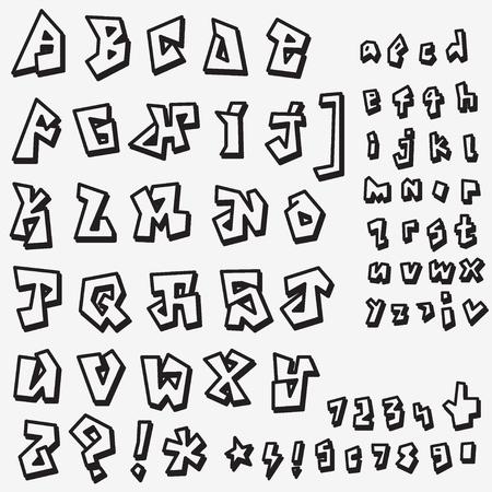 Graffiti font - zestaw ikon w stylu szkicu, projektowanie elementów