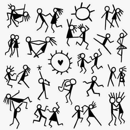 position d amour: dancing people - set icons in sketch style . design elements