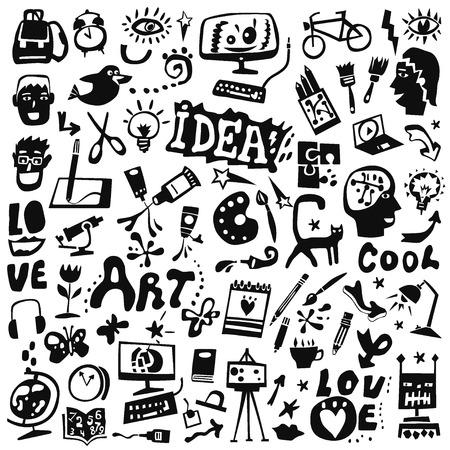 creative tools: art tools , creative symbols - set icons in graphic style Illustration