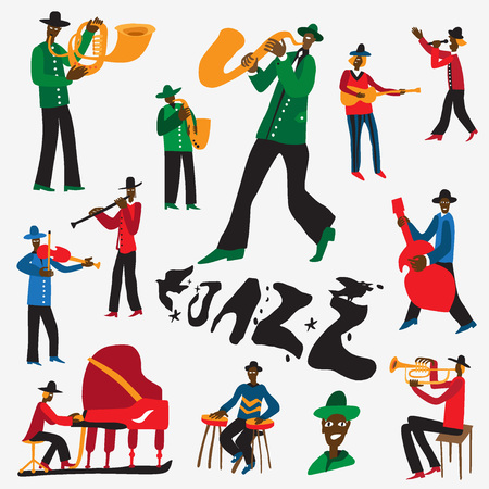instrumental: jazz musicians - set illustrations , design elements