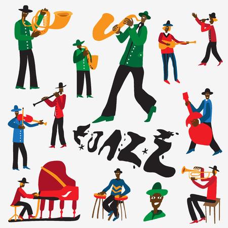 jazz musicians - set illustrations , design elements 向量圖像