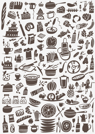 koken en keukengerei - set pictogrammen in grafische stijl