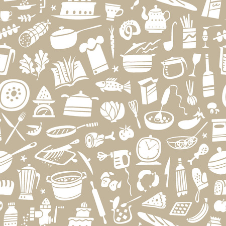 cookery seamless pattern with icons in graphic style